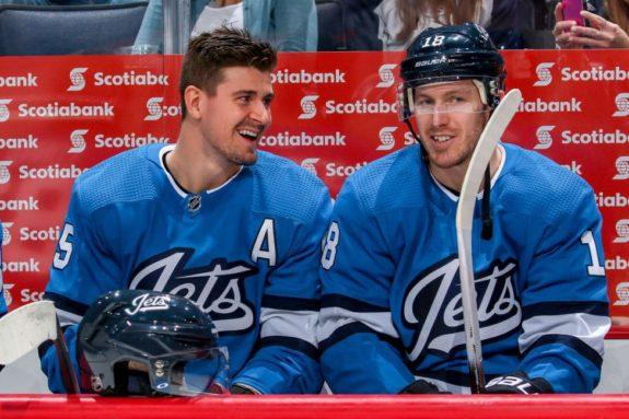 Mark Scheifele #55 and Bryan Little #18