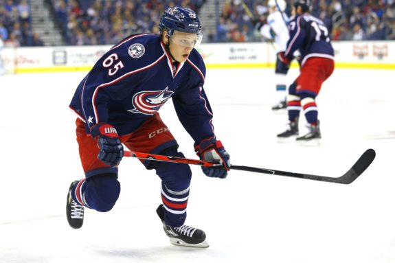 Columbus Blue Jackets defenseman Markus Nutivaara (Credit Aaron Doster-USA TODAY Sports)