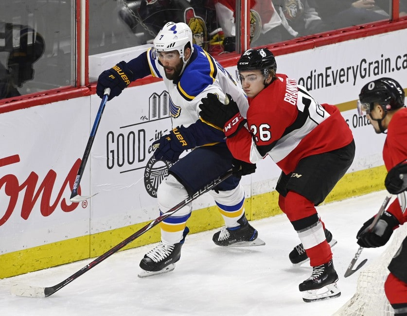 Ottawa Senators Erik Brannstrom St. Louis Blues Patrick Maroon