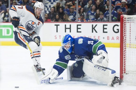 Edmonton Oilers Connor McDavid Vancouver Canucks Jacob Markstrom Brogan Rafferty