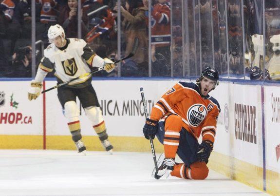 Edmonton Oilers' Connor McDavid celebrates a goal