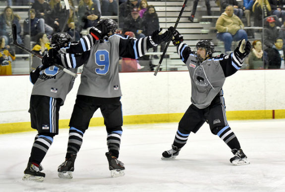 Megan Bozek and Devon Skeats celebrate a Buffalo Beauts goal. (Photo Credit: Troy Parla)