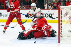 Michael Leighton (32) and Denis Malgin (62) (James Guillory-USA TODAY Sports)
