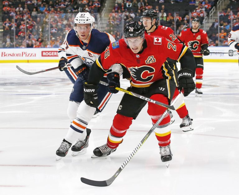 Calgary Flames defensemen Michael Stone