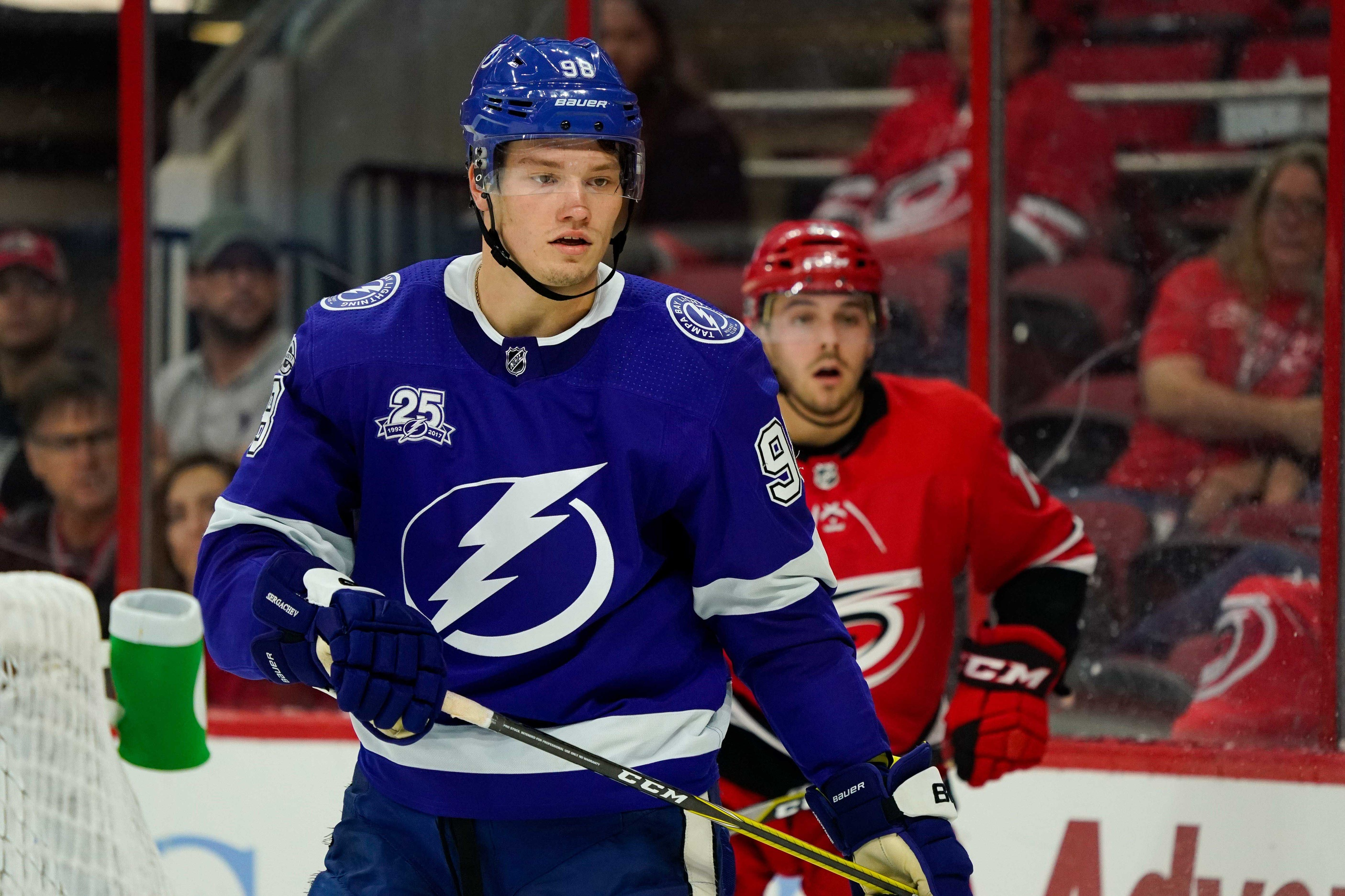 mikhail sergachev looks at home with the tampa bay lightning