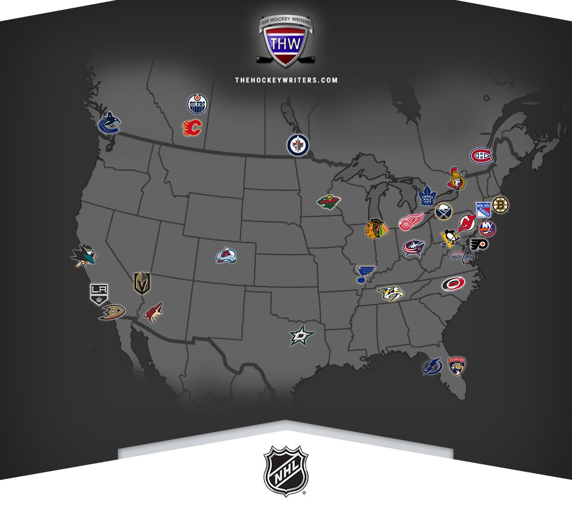 NHL Map Teams North America