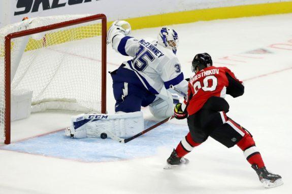 Ottawa Senators Vladislav Namestnikov Tampa Bay Lightning Curtis McElhinney