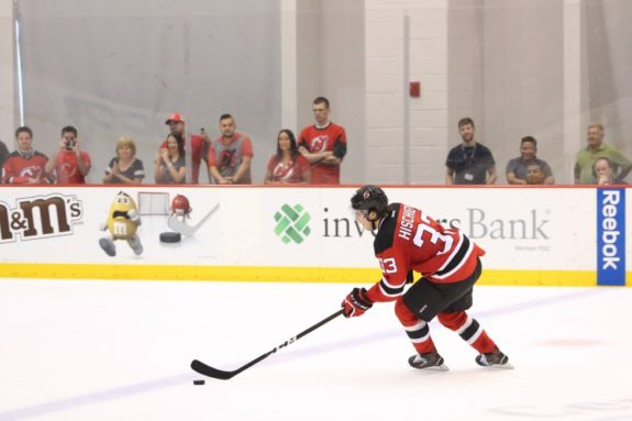 Nico Hischier attempts a shootout at the New Jersey Devils 2017 Development  Camp. (Photo Credit  New Jersey Devils Patrick Dodson) 627ff0fe7