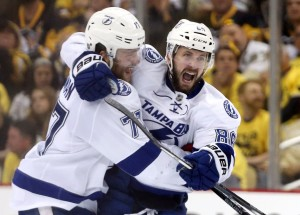 Nikita Kucherov, right, had four points in Tuesday's game. (Charles LeClaire-USA TODAY Sports)
