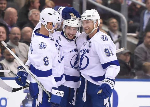Tampa Bay Lightning players Nikita Kucherov, Steven Stamkos and defenseman Anton Stralman