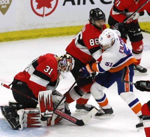 Ottawa Senators Anders Nilsson Ottawa Senators defenceman Christian Wolanin New York Islanders Valtteri Filppula