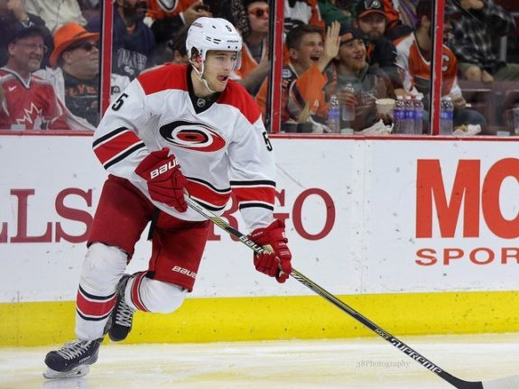 (Amy Irvin/The Hockey Writers) There is a lot to like about Noah Hanifin's game, but it remains to be seen whether he'll become an impact player in the fantasy realm.