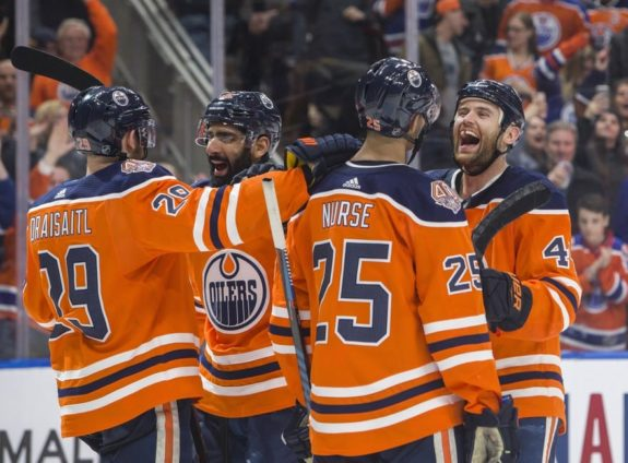 Edmonton Oilers Zack Kassian, Darnell Nurse, Jujhar Khaira Leon Draisaitl