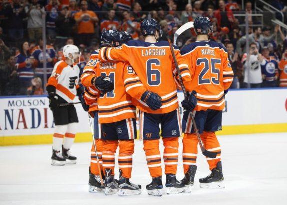 Edmonton Oilers players celebrate
