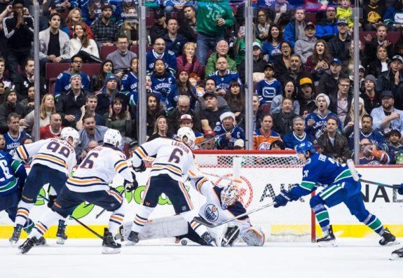 Edmonton Oilers Mikko Koskinen Vancouver Canucks' Loui Eriksson