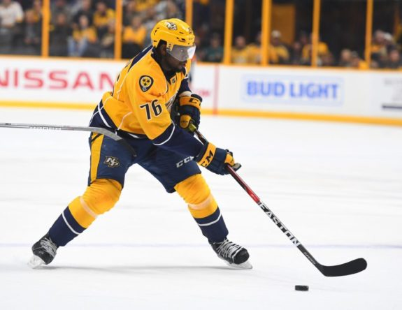 (THW photo) P.K. Subban has adjusted to life in Nashville and is starting to come on strong for the Predators. He's now up to 14 points, with five goals, through 21 games — tied for eighth among NHL defence scoring leaders. The man Subban was traded for, Shea Weber, is second on that list with eight goals and 18 points in 22 games for the Montreal Canadiens. Weber is also plus-18 to Subban's minus-9 right now.
