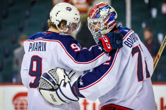 Columbus Blue Jackets goaltender Sergei Bobrovsky and forward Artemi Panarin