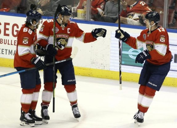 Florida Panthers' Aleksander Barkov Mike Hoffman Mark Pysyk