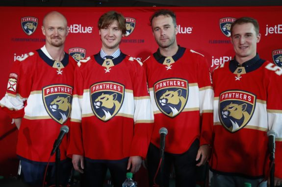 From left: Anton Stralman, Sergei Bobrovsky, Brett Connolly, Noel Acciari