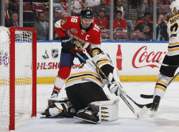 Boston Bruins Jaroslav Halak and Florida Panthers Aleksander Barkov