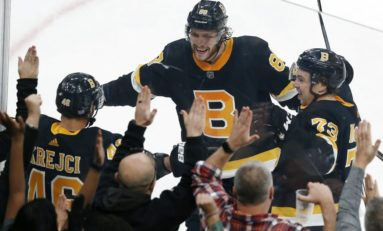 Pastrnak Hat Trick Helps Bruins Hold off Jets 5-4