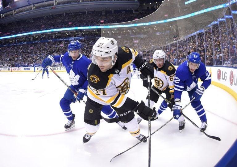 Bruins forwards Patrice Bergeron