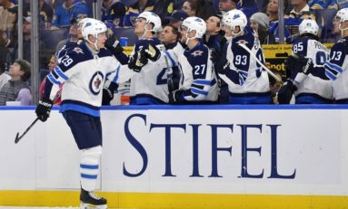 Jets Soar Past Blues 8-4 - Laine Nets 5 Of Them
