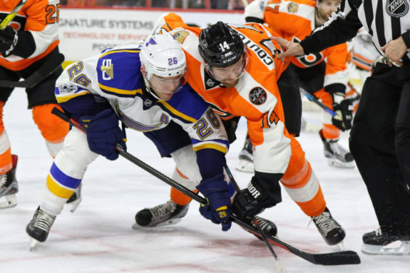 Philadelphia Flyers forward Sean Couturier and Ex-St. Louis Blues forward Paul Stastny