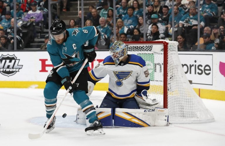 St. Louis Blues Jordan Binnington San Jose Sharks' Joe Pavelski