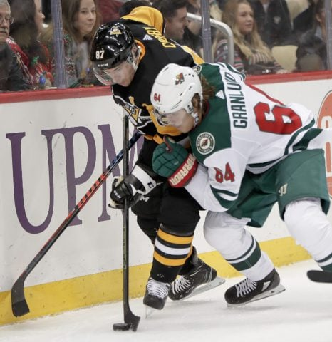 Pittsburgh Penguins' Sidney Crosby and Minnesota Wild's Mikael Granlund