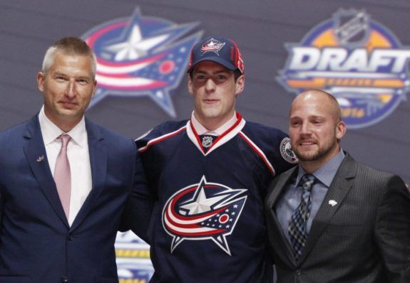 (Timothy T. Ludwig-USA TODAY Sports) Pierre-Luc Dubois even looks a little stunned in this posed photo after hearing his name called ahead of Jesse Puljujarvi by the Columbus Blue Jackets at third overall.