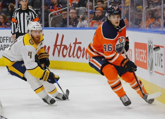Pontus Aberg with the Oilers