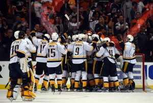 Nashville Predators players celebrate after game seven of the first round of the 2016 Stanley Cup Playoffs against the Anaheim Ducks at Honda Center. The Predators defeated the Ducks 2-1 to win the series 4-3. (Kirby Lee-USA TODAY Sports)