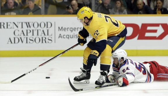 New York Rangers Adam McQuaid Nashville Predators Kevin Fiala