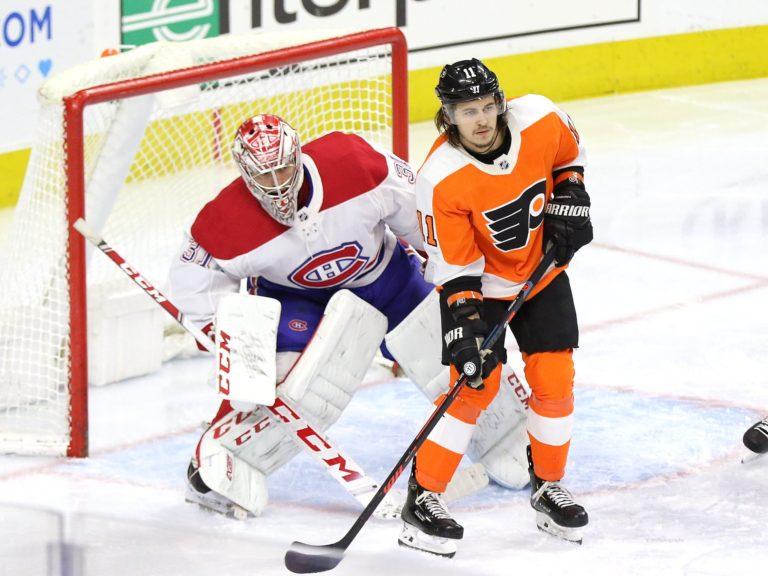 Carey Price Montreal Canadiens Travis Konecny Philadelphia Flyers