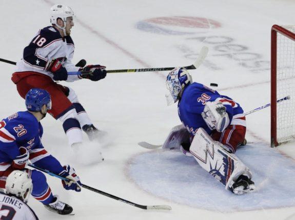 Columbus Blue Jackets' Pierre-Luc Dubois New York Rangers goaltender Henrik Lundqvist