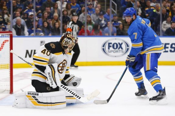 Boston Bruins Tuukka Rask St. Louis Blues' Patrick Maroon