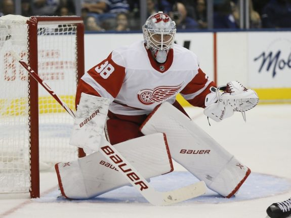 Red Wings Perlinis nose cut after stuck by Sabres skate