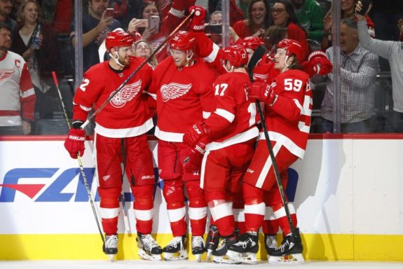 Detroit Red Wings' Anthony Mantha and Tyler Bertuzzi.