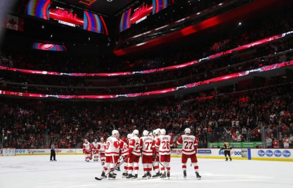 Detroit Red Wings celebrate a victory against Boston.
