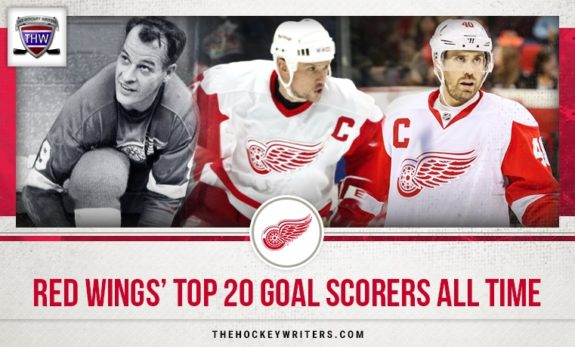 Detroit Red Wings top 20 goal scorers All Time Steve Yzerman, Gordie Howe, and Henrik Zetterberg