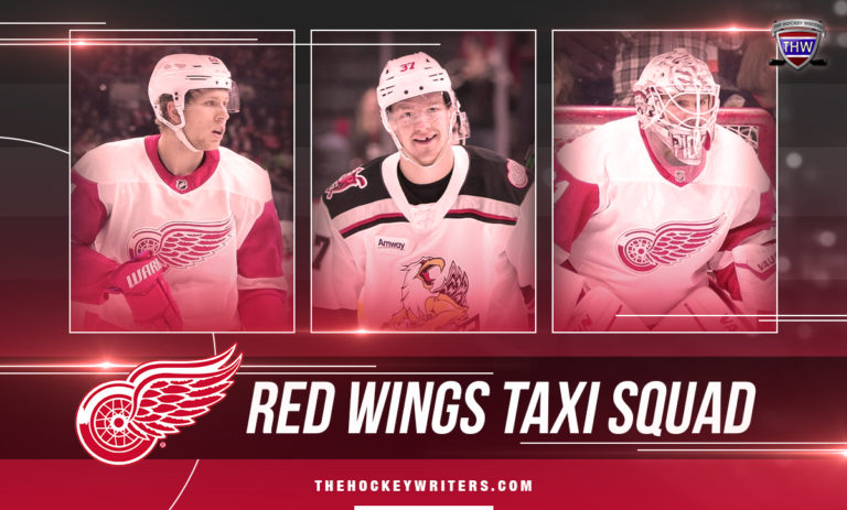 Detroit Red Wings Taxi Squad Evgeny Svechnikov, Calvin Pickard and Dennis Cholowski