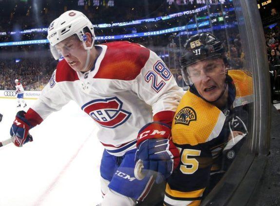 Montreal Canadiens' Mike Reilly Boston Bruins' Noel Acciari