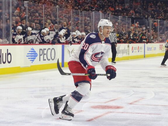 Riley Nash #20, Columbus Blue Jackets
