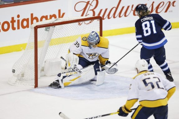 Winnipeg Jets' Kyle Connor Nashville Predators Pekka Rinne
