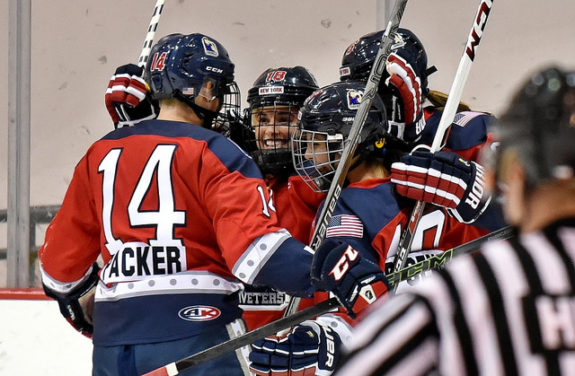the New York Riveters celebrate a goal. (photo Credit: Troy Parla)