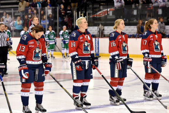 The New York Riveters (L-R Kaleigh Fratkin, Madison Packer, Alexa Gruschow, Bray Ketchum) (Photo Credit: Troy Parla)