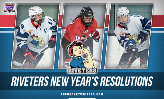 Metropolitan Riveters New Years Resolutions Madison Packer, Kendall Cornine and Rebecca Russo
