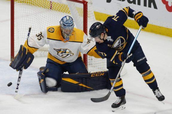 Buffalo Sabres Evan Rodrigues Nashville Predators Pekka Rinne
