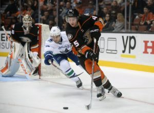 Brendan Gaunce chases Sami Vatanen during an October game against the Ducks. It seems like the Canucks have been doing a lot of chasing in games lately.(Gary A. Vasquez-USA TODAY Sports)
